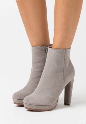 LEATHER - High heeled ankle boots - grey