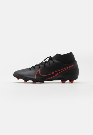 MERCURIAL 7 CLUB FG/MG - Moulded stud football boots - black/dark smoke grey