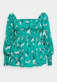 Simply Be - SQUARE NECK SHIRRED PEPLUM - Camicetta - green - 0