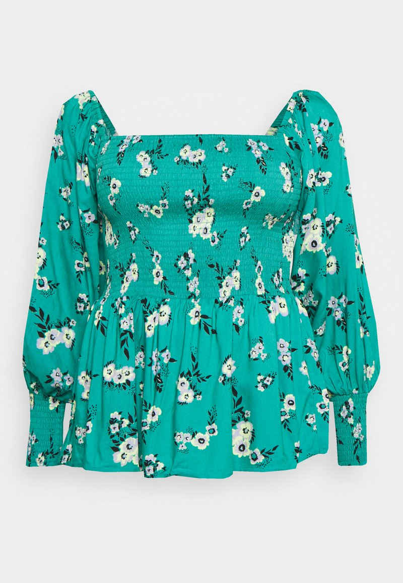 Simply Be - SQUARE NECK SHIRRED PEPLUM - Camicetta - green