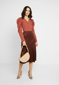 Missguided - PUFF SLEEVE WRAP CROP - Blouse - rust - 1