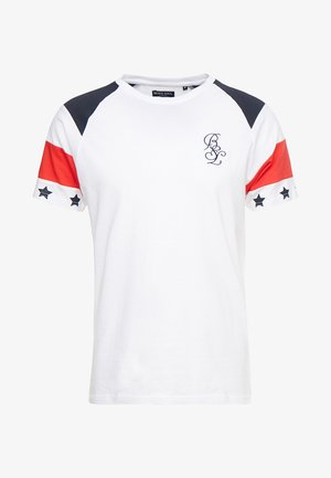 STAR - Print T-shirt - white/red/navy