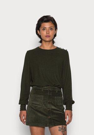 BYSIMO BUTTON - Long sleeved top - rosin melange