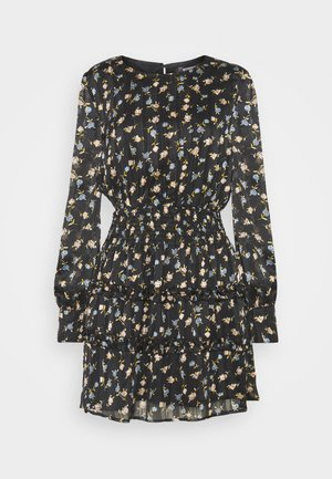 FLORAL SHIRRED WAIST MINI DRESS - Day dress - black