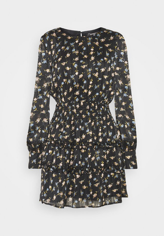 FLORAL SHIRRED WAIST MINI DRESS - Korte jurk - black