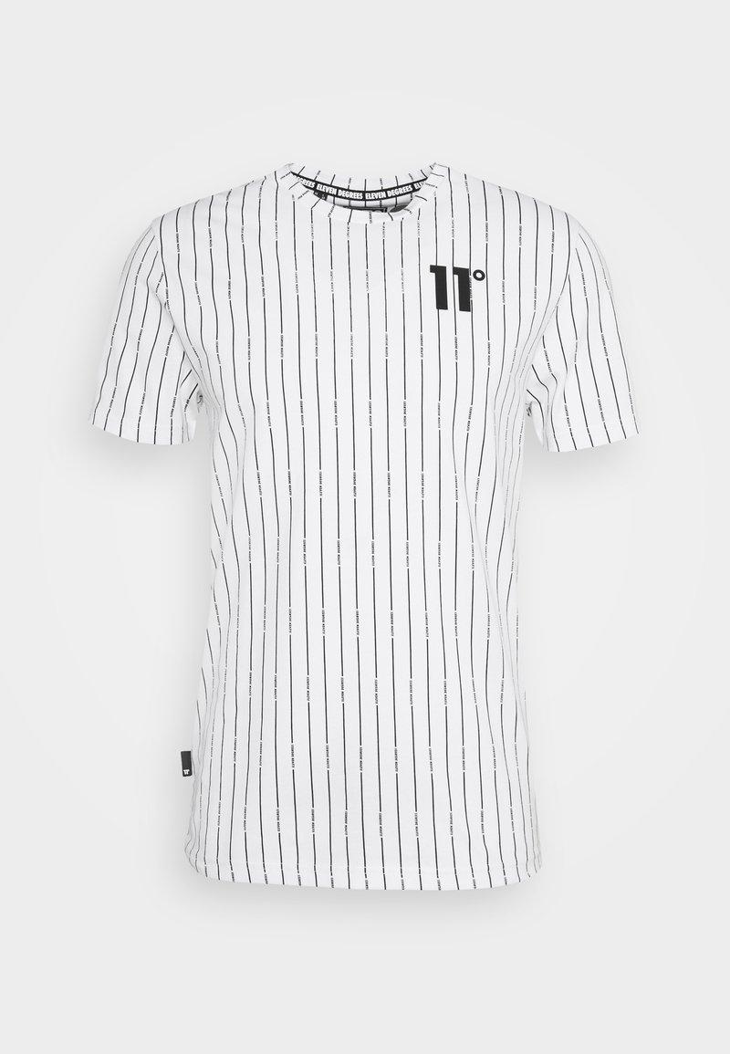 11 DEGREES - VERTICAL STRIPE  - Print T-shirt - white/black