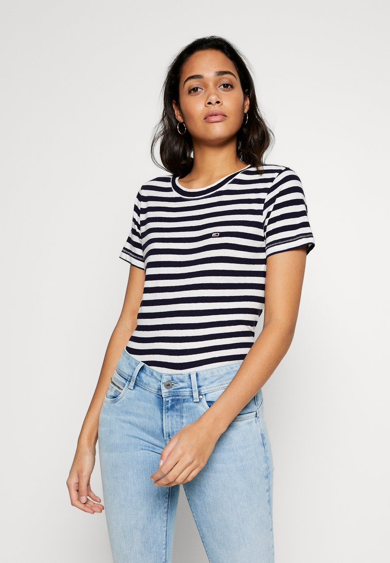 Tommy Jeans - TEXTURED STRIPE TEE - Print T-shirt - twilight navy / white