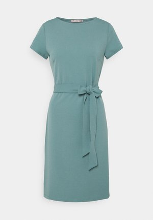 Short sleeves belted mini dress - Jersey dress - blue grey