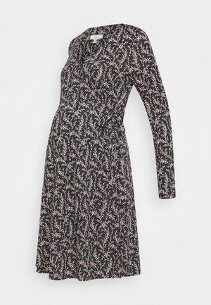 BLOSSOM WRAP DRESS - Jersey dress - black