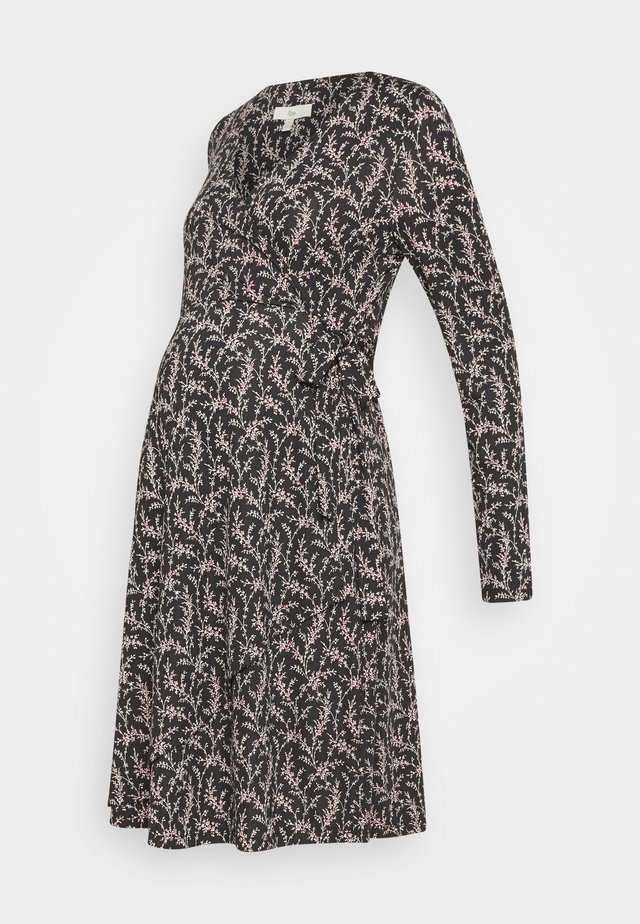 BLOSSOM WRAP DRESS - Jerseykjoler - black