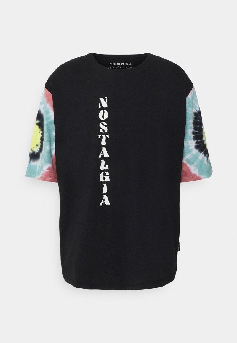 YOURTURN - TIE DYE SLEEVES UNISEX - Print T-shirt - black