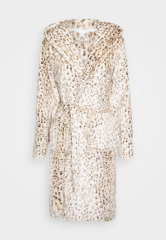 LEOPARD PRINT LUXURY ROBE WITH HOOD - Badekåpe - brown