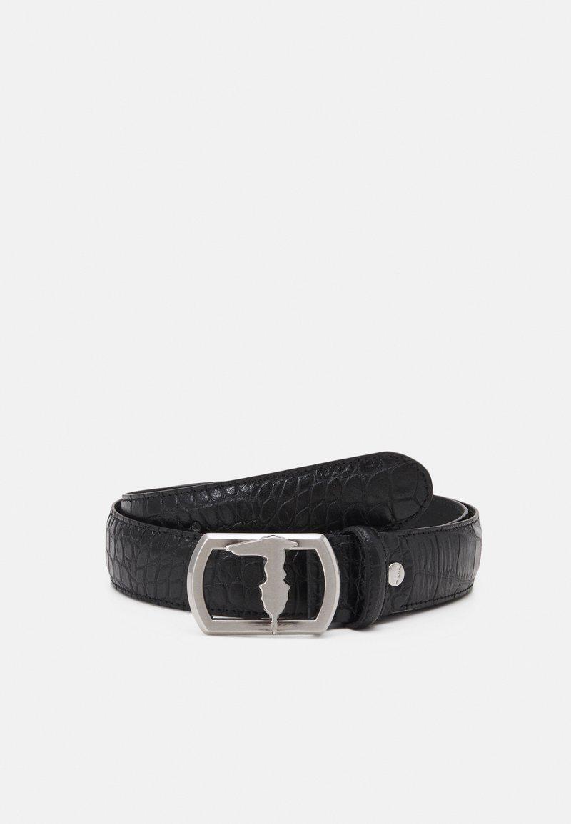 Trussardi - BELT PLACCA LEVRIERO COCCO - Belt - black