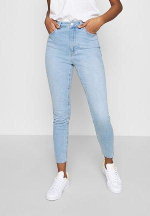 HIGH WAIST RAW HEM - Jeans Skinny Fit - light blue