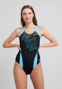Speedo - BOOM - Swimsuit - black/aqua splash/bright zest - 1