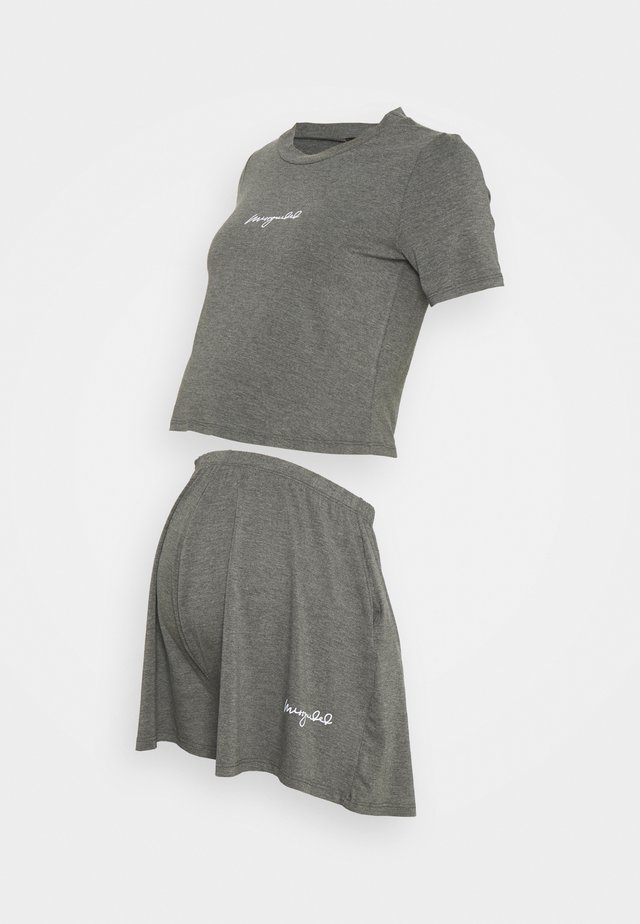 SCRIPT NIGHTWEAR SHORTS SET - Pyjama bottoms - grey