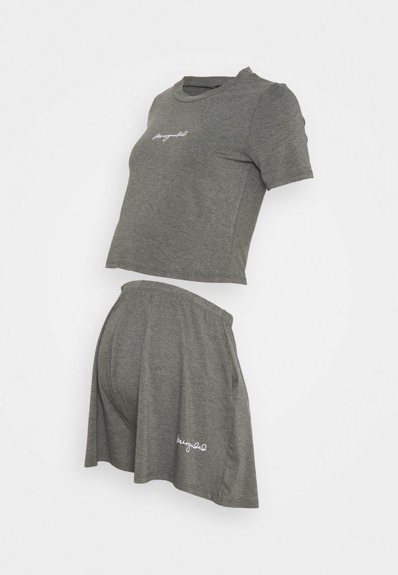 Missguided Maternity - SCRIPT NIGHTWEAR SHORTS SET - Pyjama bottoms - grey