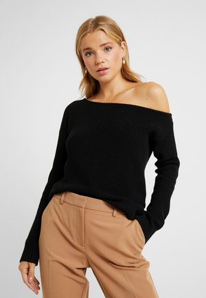 HALF CARDIGAN STITCH CARMEN - Jumper - black