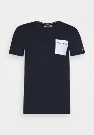CONTRAST POCKET TEE - Print T-shirt - twilight navy/white