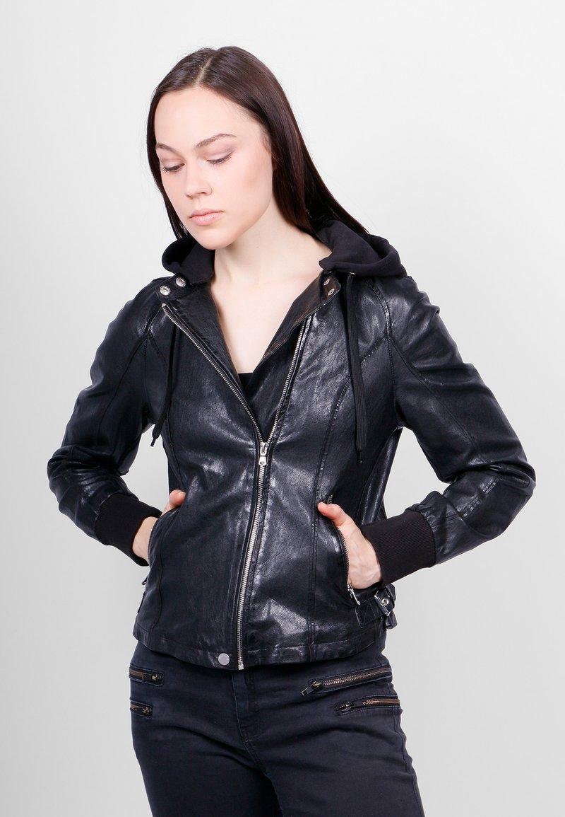 Freaky Nation - GLANCE UP-FN - Leather jacket - black