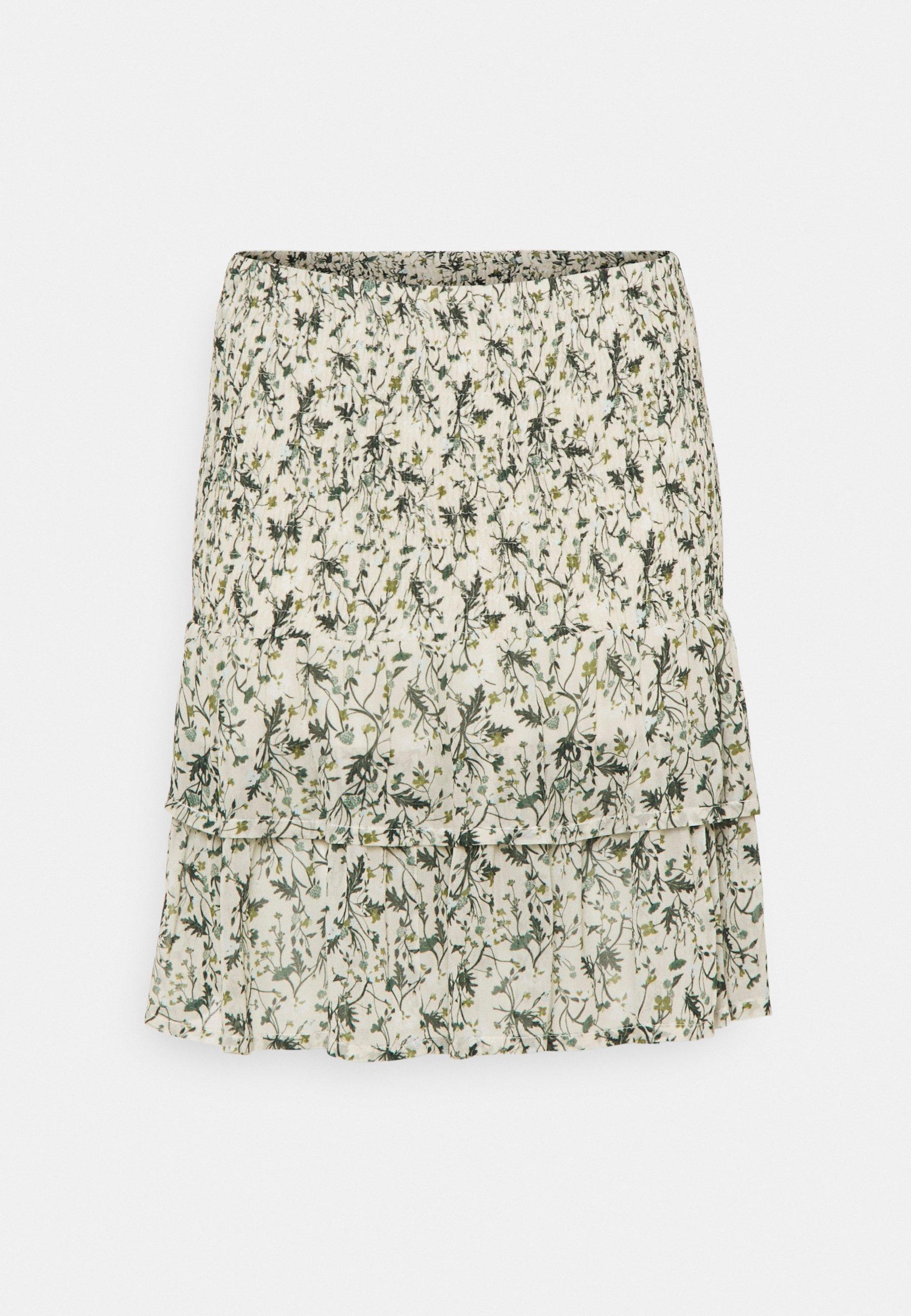 Women A-line skirt - green botanical