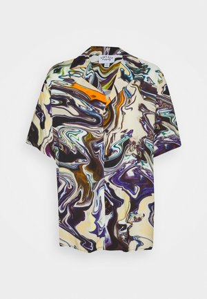 SHORT SLEEVE SHIRT IN TRIPPY OIL SLICK PRINT UNISEX - Vapaa-ajan kauluspaita - multi