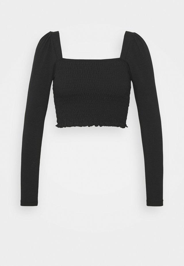 SHIRRED - Top sdlouhým rukávem - black