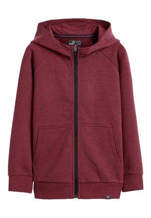 BURGUNDY ZIP TEXTURED HOODY (3-16YRS) - Sweater met rits - red