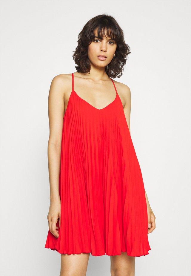 PLEATED SLIP DRESS - Vestito elegante - red