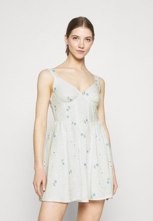 FLORAL BRODERIE CORSET SKATER DRESS - Day dress - white