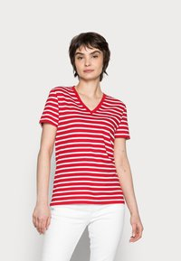 Tommy Hilfiger - NEW V-NECK TEE - Print T-shirt - red - 0