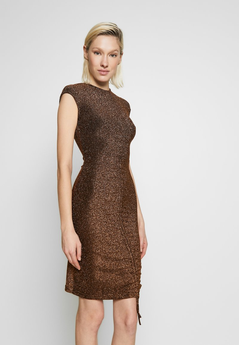 Club L London - METALLIC RUCHED FRONT MINI DRESS - Cocktail dress / Party dress - gold-coloured