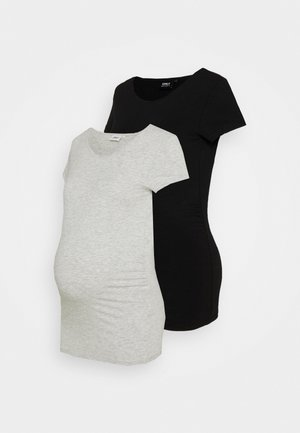 OLMLOVELY LIFE ONECK 2 PACK - T-shirts basic - black/light grey melange