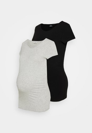 OLMLOVELY LIFE ONECK 2 PACK - T-shirt basic - black/light grey melange