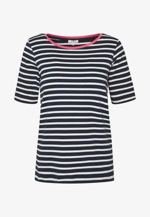 STRIPE CONTRAST NECK - Print T-shirt - dark blue