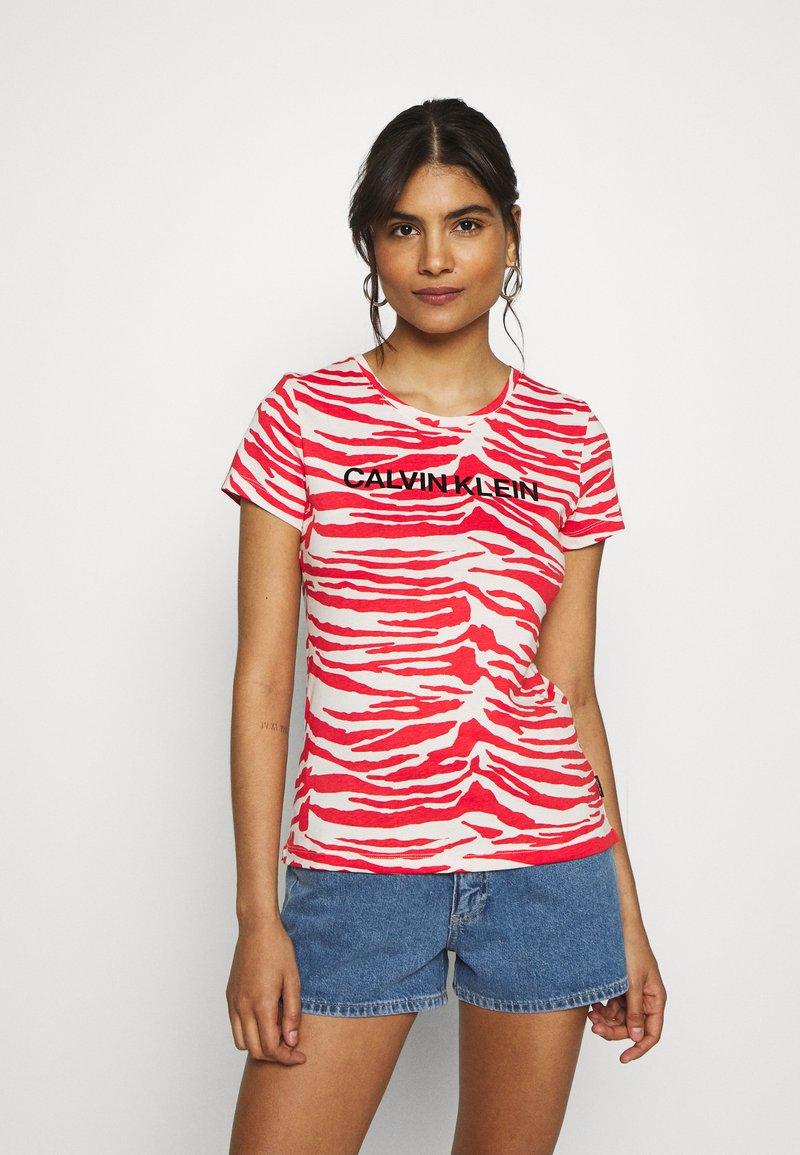 Calvin Klein - ZEBRA PRINT STRETCH TEE - Print T-shirt - red/white