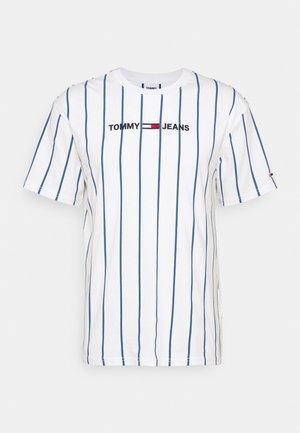 VERTICAL STRIPE LOGO TEE UNISEX - T-shirt con stampa - white/audacious blue