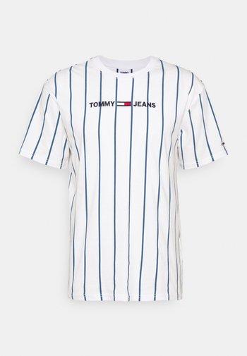 VERTICAL STRIPE LOGO TEE UNISEX - Print T-shirt - white/audacious blue