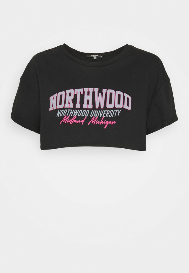 NORTH WOOD ROLL SLEEVE CROP - T-shirt con stampa - black