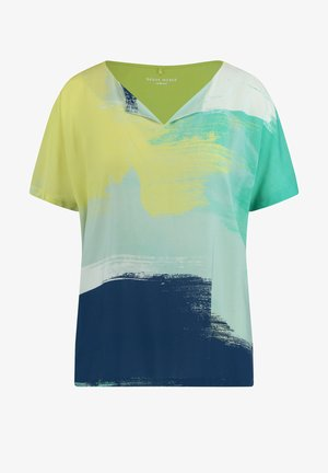Print T-shirt - blau/grün druck