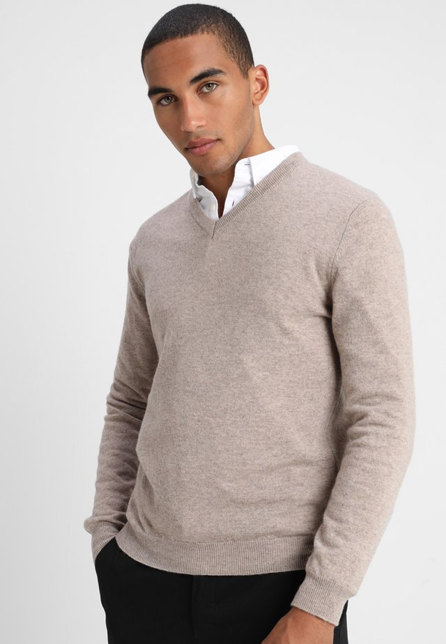 BASIC V NECK - Sweter - beige