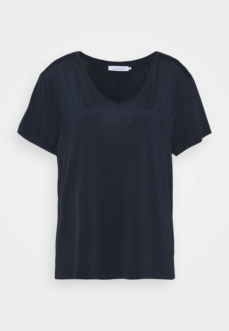 Samsøe Samsøe - SIFF V NECK - Print T-shirt - dark sapphire