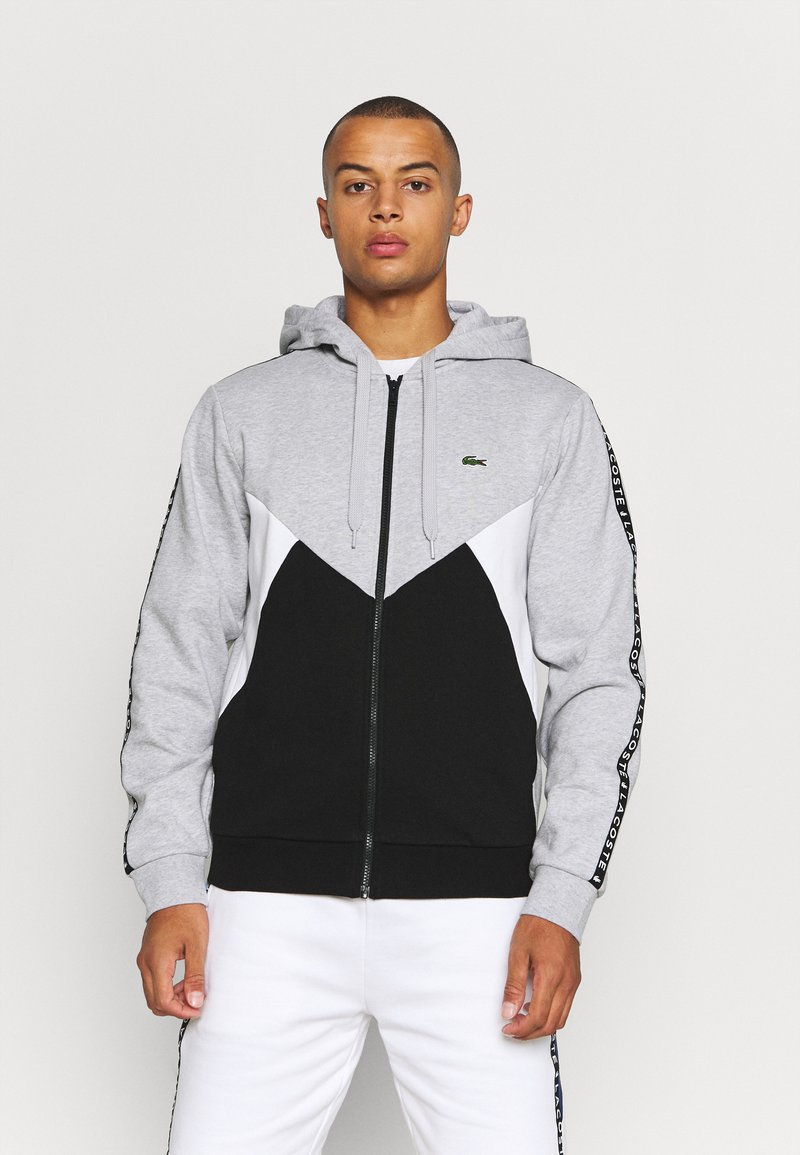 Lacoste Sport - TAPERED - Mikina na zip - gris chine/noir/blanc