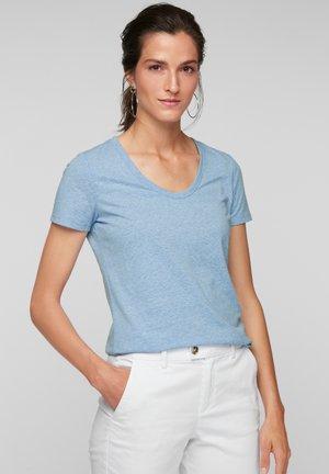 MIT U-AUSSCHNITT - Basic T-shirt - blue melange