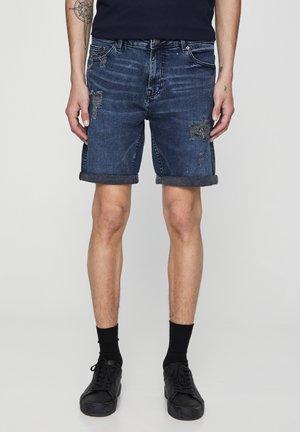 Jeansshorts - mottled dark blue