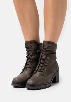 Lace-up ankle boots - dark taupe