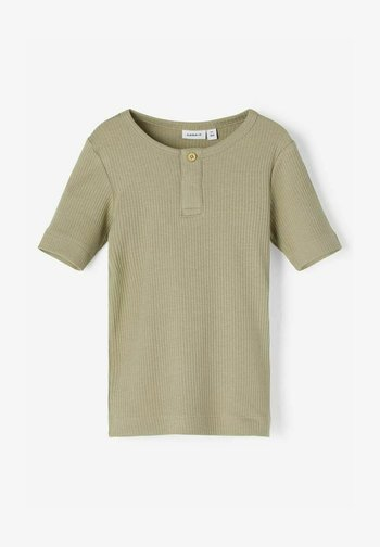 SLIM FIT GERIPPT - Basic T-shirt - silver sage