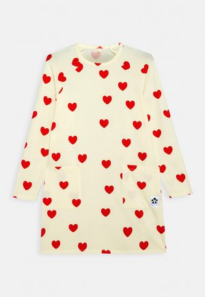 HEARTS DRESS - Žerzejové šaty - off white