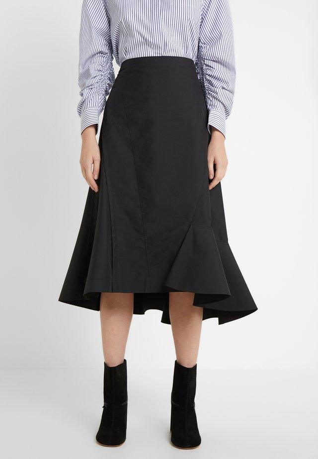 BONDED RUFFLE HEM SKIRT - A-snit nederdel/ A-formede nederdele - black