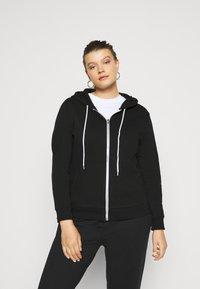 Even&Odd Curvy - Zip-up hoodie - black - 0
